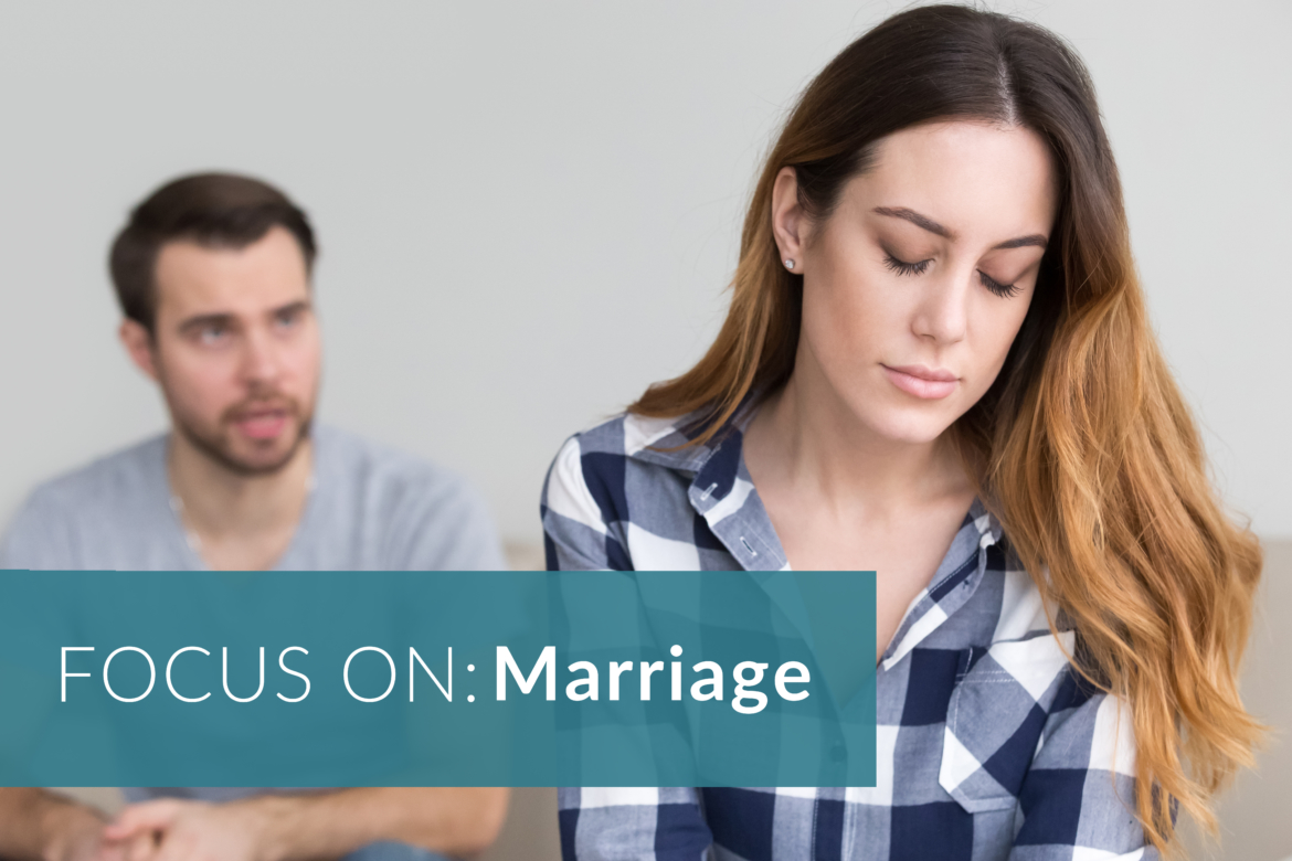 Image of a woman and a man. FOCUS ON: Marriage