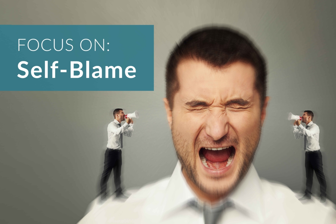 Image of a man screaming with two mini versions of himself yelling into his ear. FOCUS ON: Self-Blame