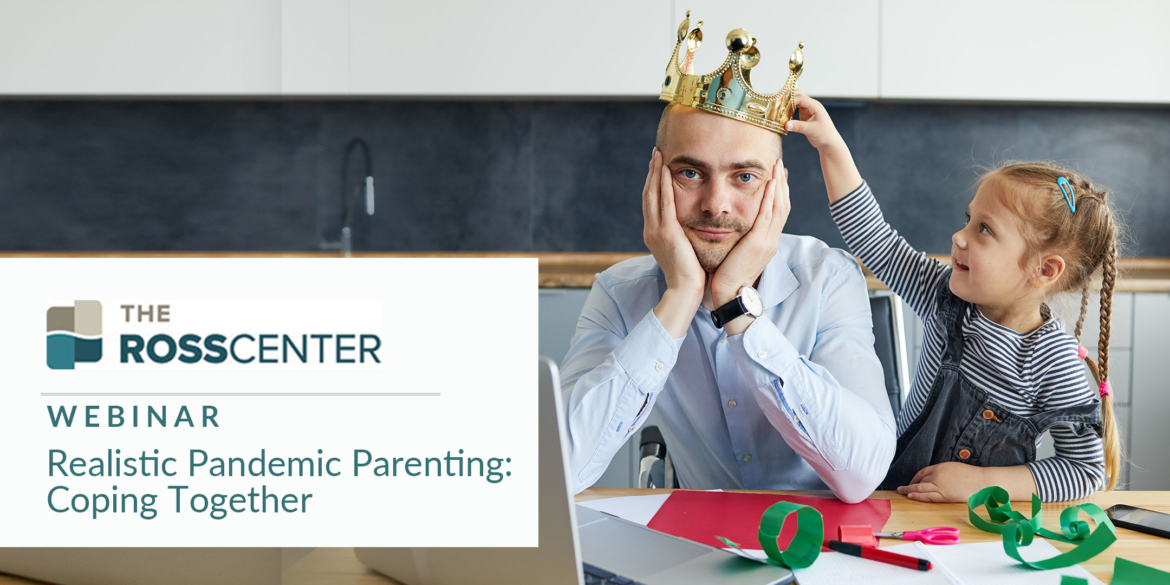 Young Girl Placing Crown on Father's Head in a Webinar Image for Realistic Pandemic Parenting: Coping Together